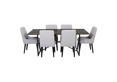 Soro 2000 Dining Table & 6x Sergio Dining Chairs in Light Grey with Black Legs
