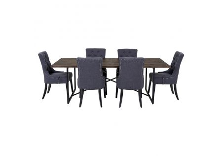 Soro 2300 Dining Table & 6x Gallery Dining Chairs in Charcoal with Black Legs