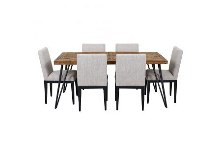 Oslo 1800 Dining Table & 6x Kingston Dining Chairs in Beige