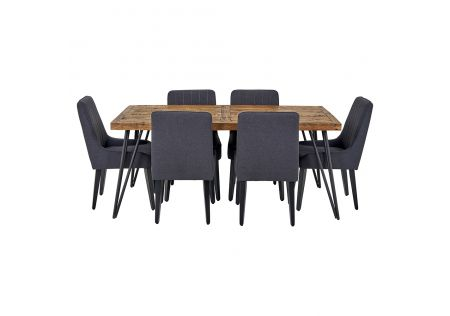 Oslo 1800 Dining Table & 6x Sergio Dining Chairs in Charcoal with Black Legs