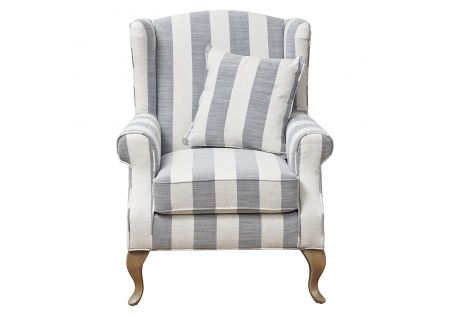 Sophia Wingback Chair Blue Stripes