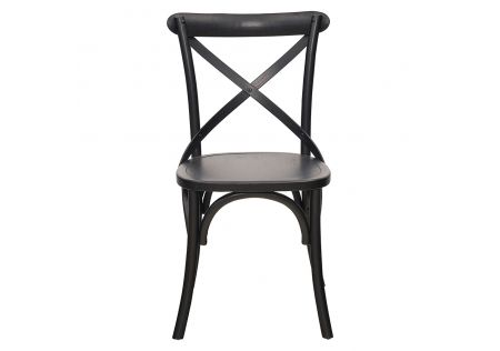 French Cross Dining Chair with Timber Seat Black