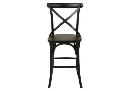 French Cross Breakfast Stool (Timber Seat) Black