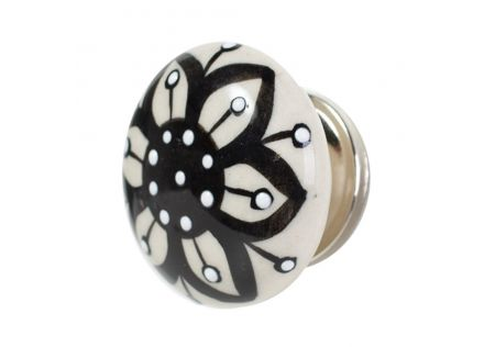 Handpainted Ceramic Cabinet Knob Black - Set of 2