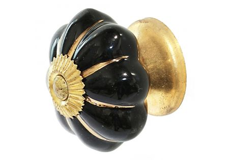 Handpainted Ceramic Door Knob Black/Gold Stripe - Set of 2