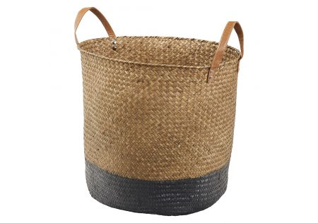 Natural/Black Sea Grass Basket Large