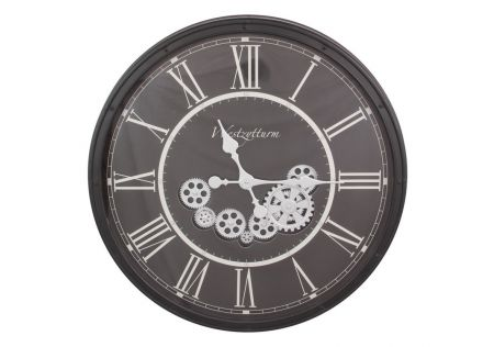 Black Clock with Moving Cogs
