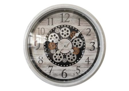 White Clock with Moving Cogs