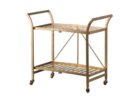 Cleo Gold Bar Cart on Wheels