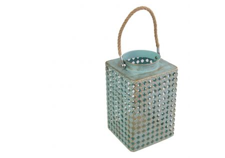 Duck Egg Blue Lantern with Brushed Gold