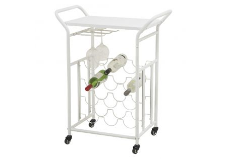 Taylor Wine Rack on Wheels White