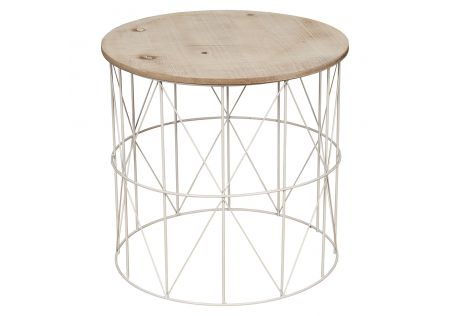 Cheyenne Metal Side Table with Timber Top Large