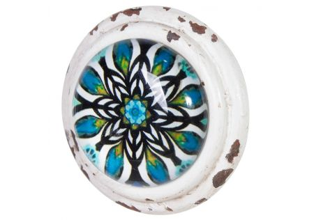 Metal Door Knob with Glass Inset Azura – Set of 2