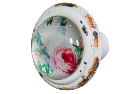 Metal Door Knob with Glass Inset Rose – Set of 2