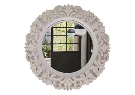 Round White Filigree Mirror Wall Art