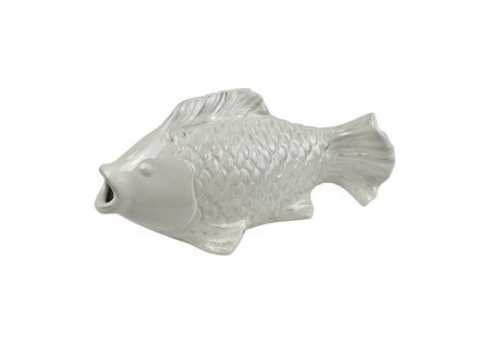 Koi Fish Large Ceramic Sculpture White