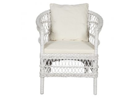 Malawi Bay Rattan Chair White (with Free Removable Cushions)