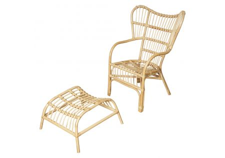 Naples Rattan Chair with Stool