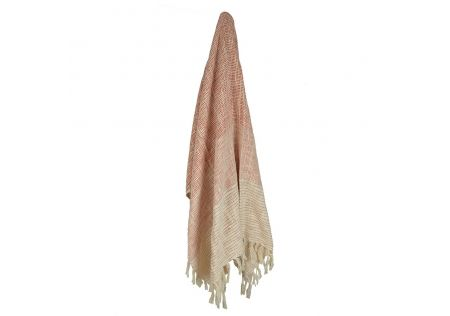 Pink/White Cotton Fade Out Throw