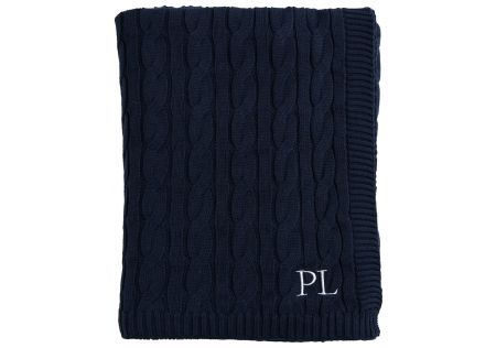 Paloma Cable Knit Navy Throw