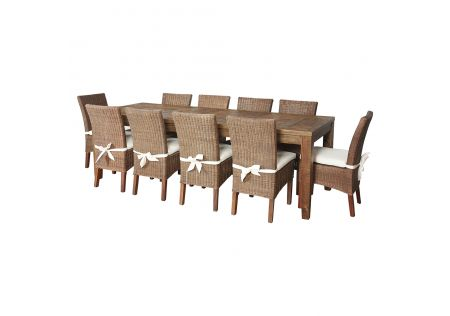 Oslo 2500 Dining Table & 10x Vincentia Rattan Dining Chairs