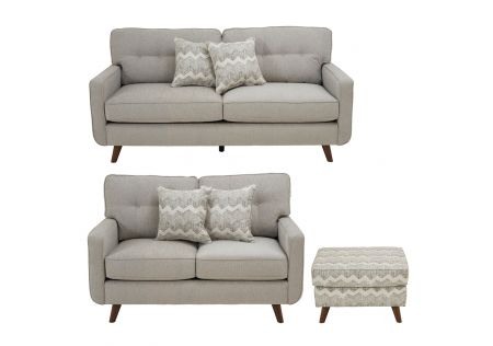 Hollywood 2.5 and 2 Seater Sofas and Ottoman Package in Dove