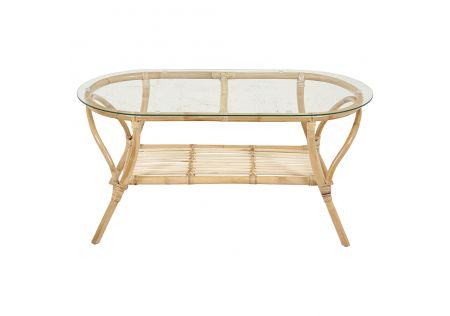 South Carolina Rattan Coffee Table with Glass Top